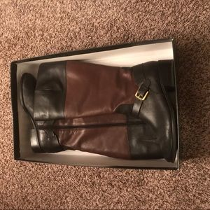 Ralph Lauren Boots Leather 10 B Blk/brwn W/ Buckle
